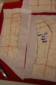 The pattern for the strapless under bodice consisted of a front panel, two side princess panels, and two back panels.  However, Susan divided the side princess panels into two, giving me 7 bodice pieces rather than 5.
