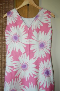 I was fairly successful in matching the flower design along the back seam . . .