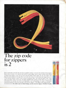 As it turns out, I found this ad for metal versus nylon coil zippers in a 1964 Vogue Pattern Book Magazine. If you read the copy, they recommend using metal zippers for fabrics like cotton and linen which require a hot iron. The quality of nylon coil zippers is now such that they can be used for these fabrics without a worry.