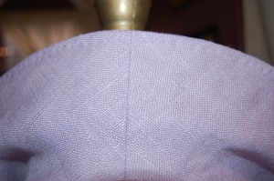 This is the undercover, showing center back seam and the under-stitching I used to secure the perimeter seam.