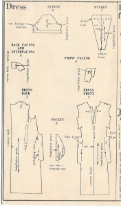 Gray painterly dress - pattern diagram