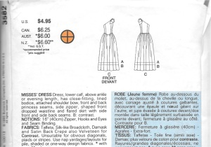 The thumbnail drawings shoe the process lines in the bodice. The description explains the construction of the skirt. I made it in the ankle length version.