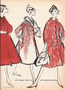 The coat on the right has unusual princess seaming.