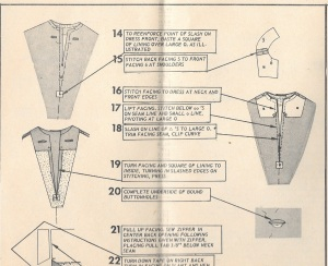 The instructions directed me to just turn back the seam allowance, but because of the ravel-ly nature of the fabric, I was certain it would pull out with wear.
