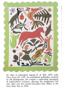 This quilt is pictured in Crib Quilts and Other Small Wonders, by Thos. K. Woodrd and Blanche Greenstein, E. P. Dutton, New York, New York, 1981, p. 16.