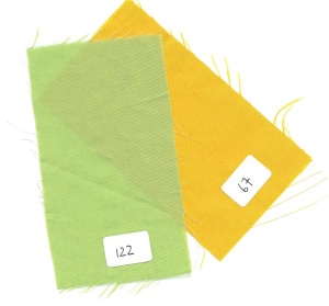 The green is a lightweight silk/cotton blend. The goldenrod yellow is silk taffeta from Italy, without the stiffness that taffeta so often has.
