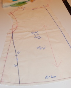 The dark blue line on the left is my re-drawn seam line. the original seam line is marked in red.