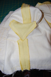 The seam you see at the top of this photo is the shoulder seam which runs down the length of the sleeve.