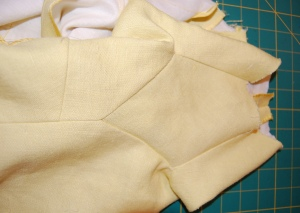 This photo clearly shows how the gusset becomes part of the underpart of the sleeve.
