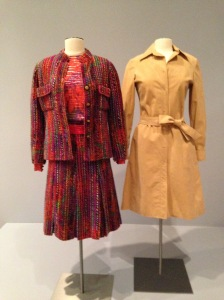The Chanel suit on the left is shown with an ultra-suede shirtdress by Halston, on the right.