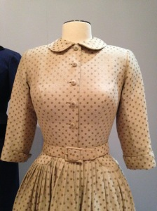 This shirtwaist dress, Norman Norell for Trina-Norell, circa 1955, had finely done bound buttonholes. the fabric is s ilk and wool brocade.