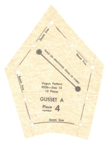 Usually gussets are diamond shaped. However, the curved lower edge shows that this gusset incorporates part of the sleeve in it.