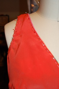 I chose a pretty orange crepe de chine for the lining.