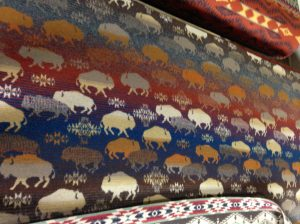 One of Pendleton's newest designs - for a throw-sized blanket - is this one adorned with the American Bison.