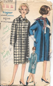 "The pattern description reads: ""Striaght coat with or without buttoned closing below notched collar. Long and below elbow length sleeves with button trimmed vent. Optional pocket in side. Slim skirt."