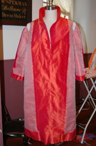 "I underlined the entire coat with silk organza and added ""cigarette"" sleeve headings."