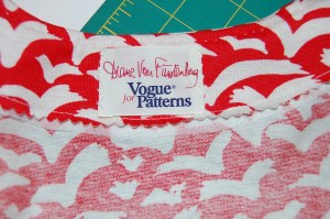 I was fortunate enough to receive a label with the pattern! You can see a small strip of the fusible interfacing showing beyond the edge of the facing...