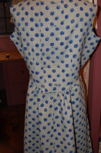 The back of the dress during construction.